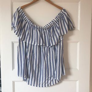 Blue and white striped off the shoulder top 3X